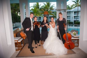 Orchid flute, violin & cello trio with very happy couple. Peppers Resort, Port Douglas.